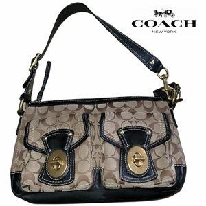 COACH Legacy Signature Black &  Khaki 10339 Shoulder Bag